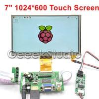 Raspberry Pi 4 B All Models 7 Inch 1024*600 TFT LCD Resistive Display Monitor Touch Screen with Driver Board HDMI VGA 2AV