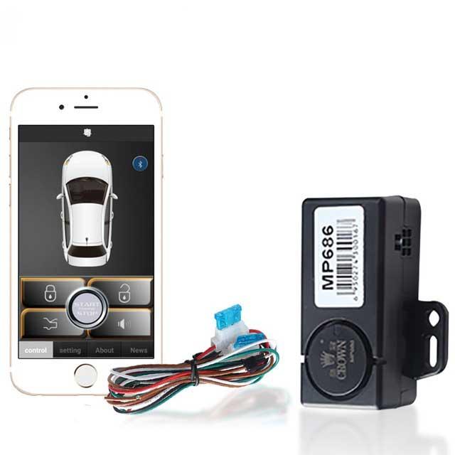 Sistema inteligente universal de fechadura, sistema de alarme passivo automotivo com controle remoto para celular, modelo mp686b