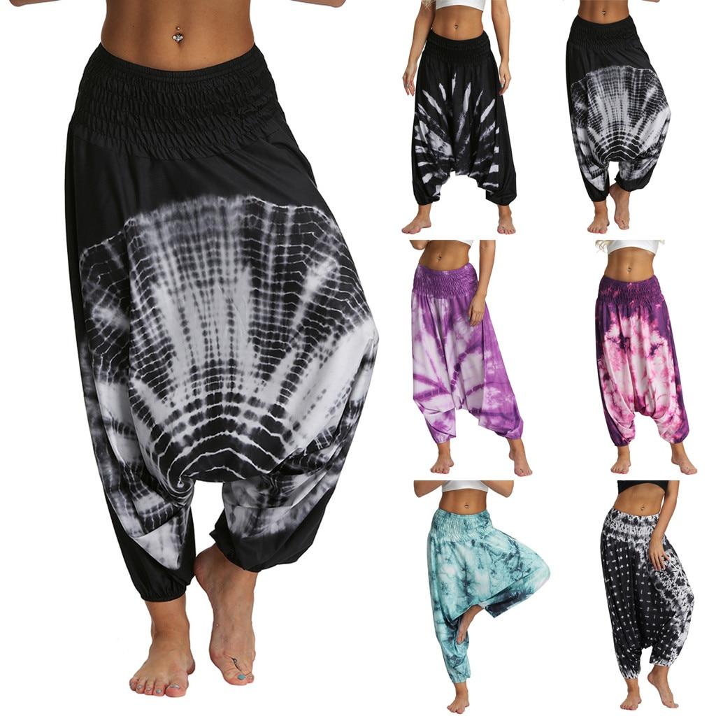 Feitong נשים מכנסיים מקרית מודפס אלדין הרמון מכנסיים מכנסיים רחבים Boho Loose הרמון מכנסיים סגול, אפור, שחור, לבן, ורוד, ירוק