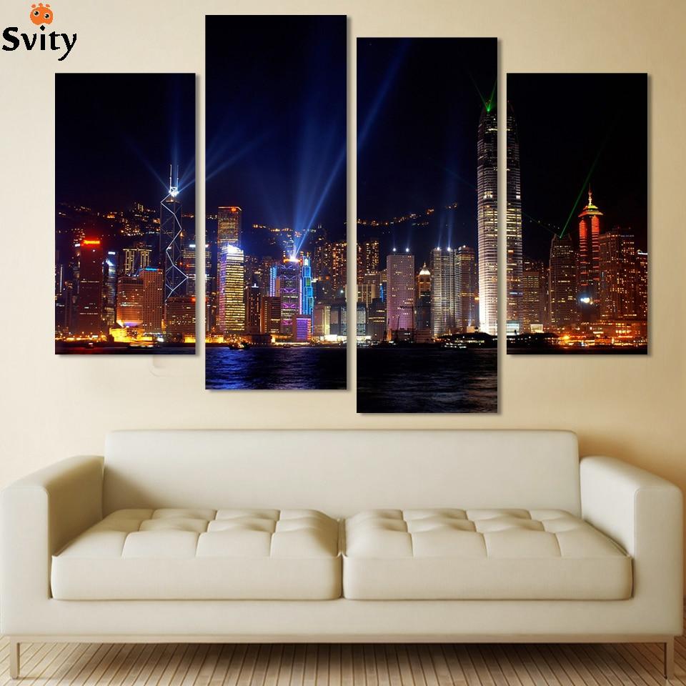 Noche de La ciudad 4 Paneles/Set Gran HD Imagen Impresión de la Lona Pintura Arte Decorativo De La Pared moderna del paisaje de la pintura Sin Marco