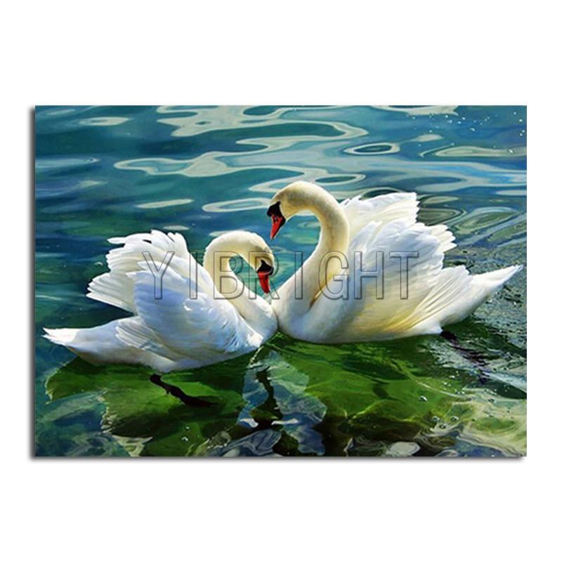 "5D Diamond Painting ""Couples Swan"" DIY Diamond Mosaic Cross Stitch Diamond Embroidery Scenery Swan ""Heart Lake"" Home Decor Gifts"