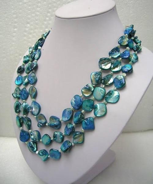 "Joyería de 60 ""3 filas blanco perla de agua dulce madre azul shell collar de perlas de"