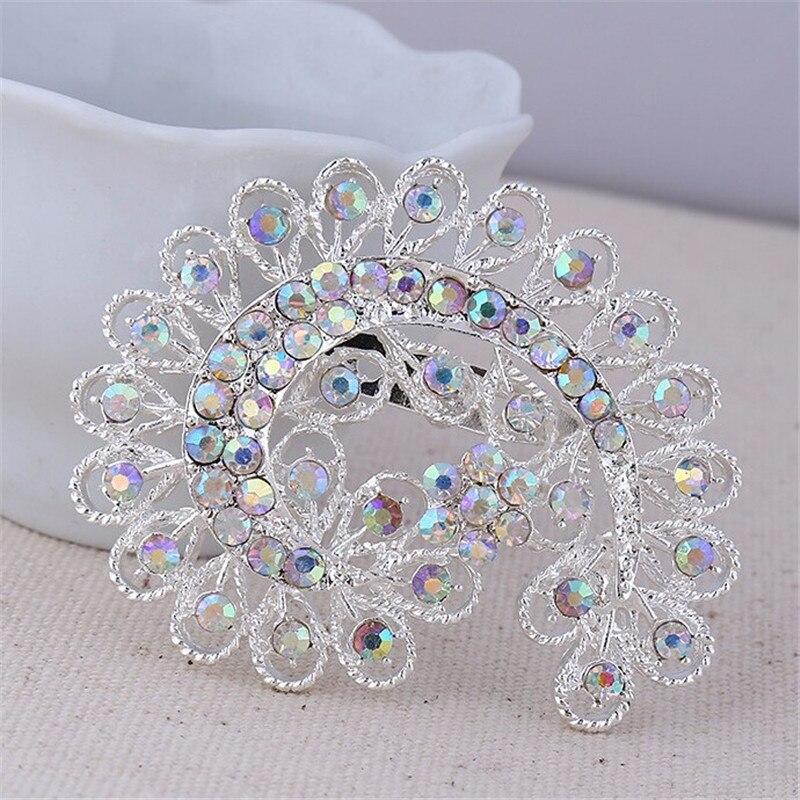 DIEZI, модная брошь для свадьбы, серебряный цвет, кристалл, женские серебряные ювелирные изделия с павлином, букет невесты, стразы, брошь, булавки, ювелирные изделия