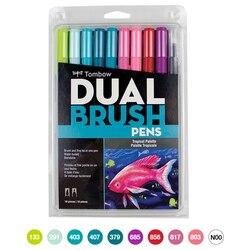 10 pçs/set conjunto de canetas de caligrafia, canetas marcadores de cabeça dupla, caneta macia, desenho, nomeação, suprimentos para arte