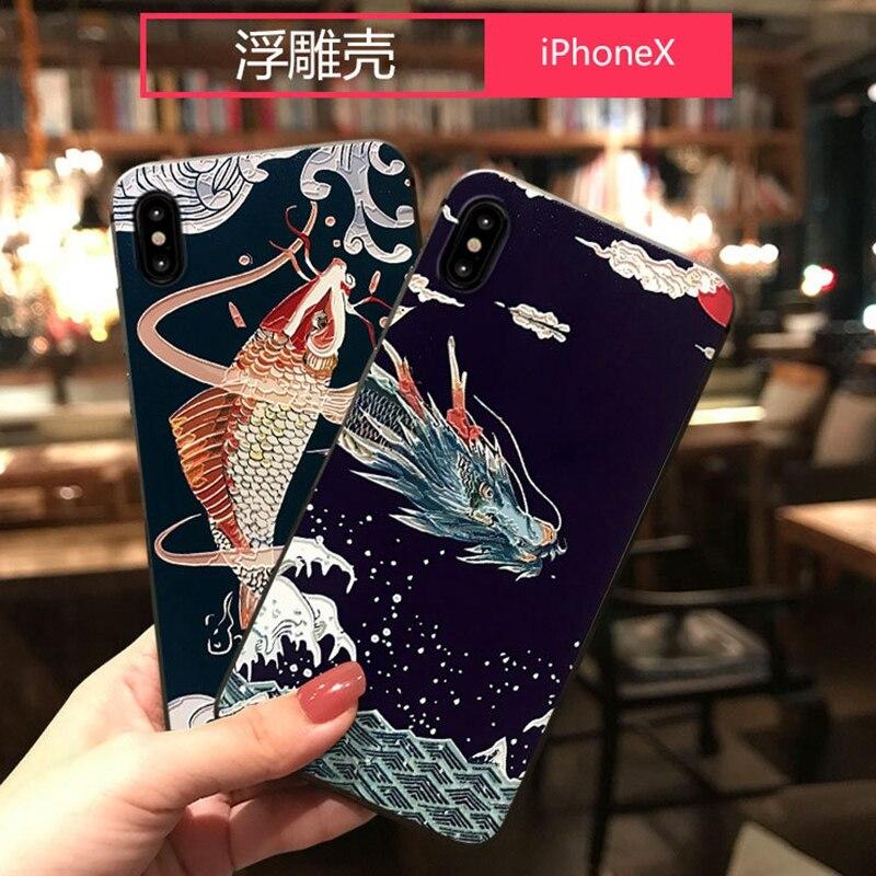 אנימה הדרקון טלפון Fundas iphone XR X 11 פרו מקסימום מקרה 3D קוי מזל הבלטה Coque עבור iphone 7 8 6 6s בתוספת XS מקסימום מקרה סיליקון
