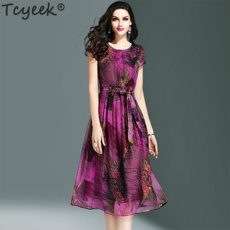 Tcyeek de seda vestido de las mujeres impresión vestido de fiesta morado elegante Slim vestido verano playa vestido Vestidos Vintage de talla grande Vestidos LWL1463