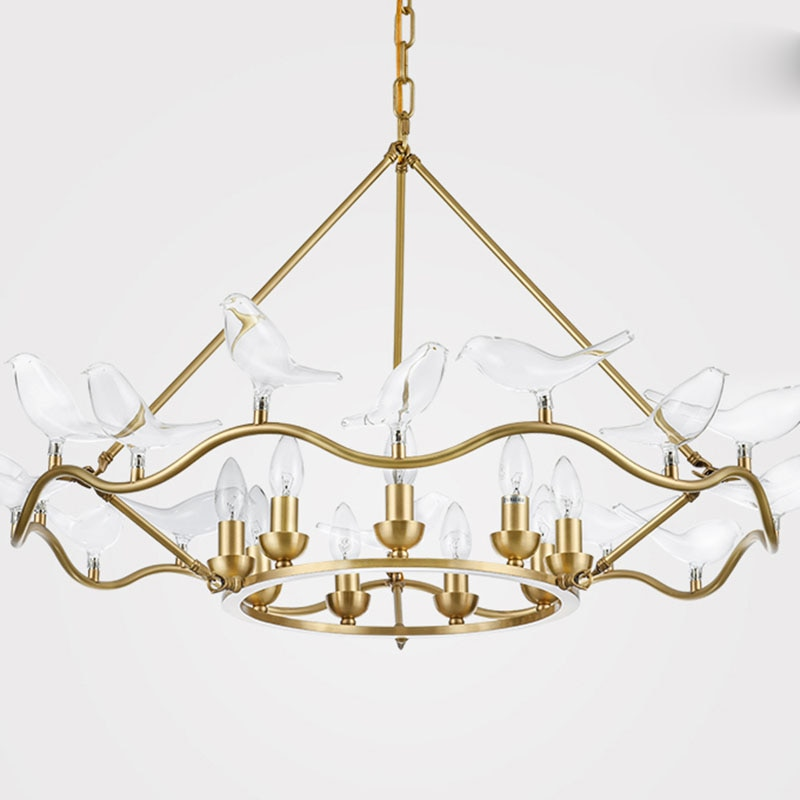 American Copper Chandelier LED Lamp Transparent Birds Double-Decker Suspension Living Room Decor Pendant Home Lighting PA0226