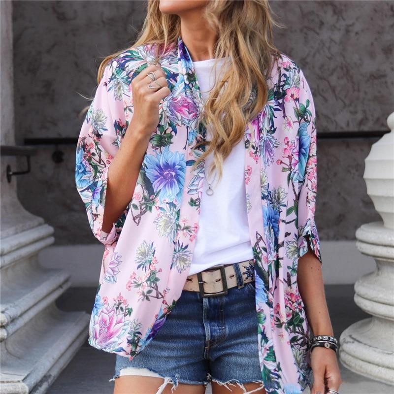 Wontive 2019 verano estampado de moda flor traje Collar media manga blusa gasa camisa blusas de las mujeres