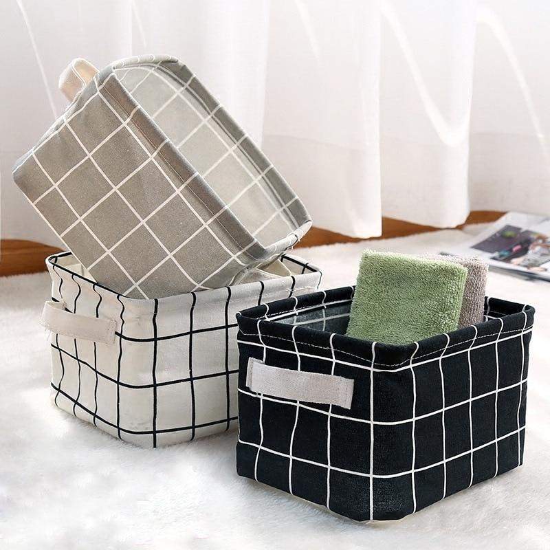 1Pcs DIY Desktop Foldable Storage Basket Sundries Toy Basket Underwear Container Cosmetic Book Storage Organizer Laundry Baskets