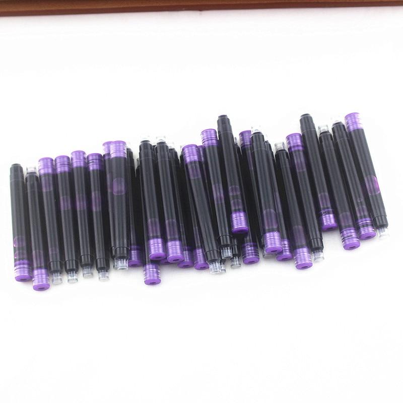 Сменные картриджи для перьевой ручки 30 шт., одноразовые фиолетовые чернильные картриджи