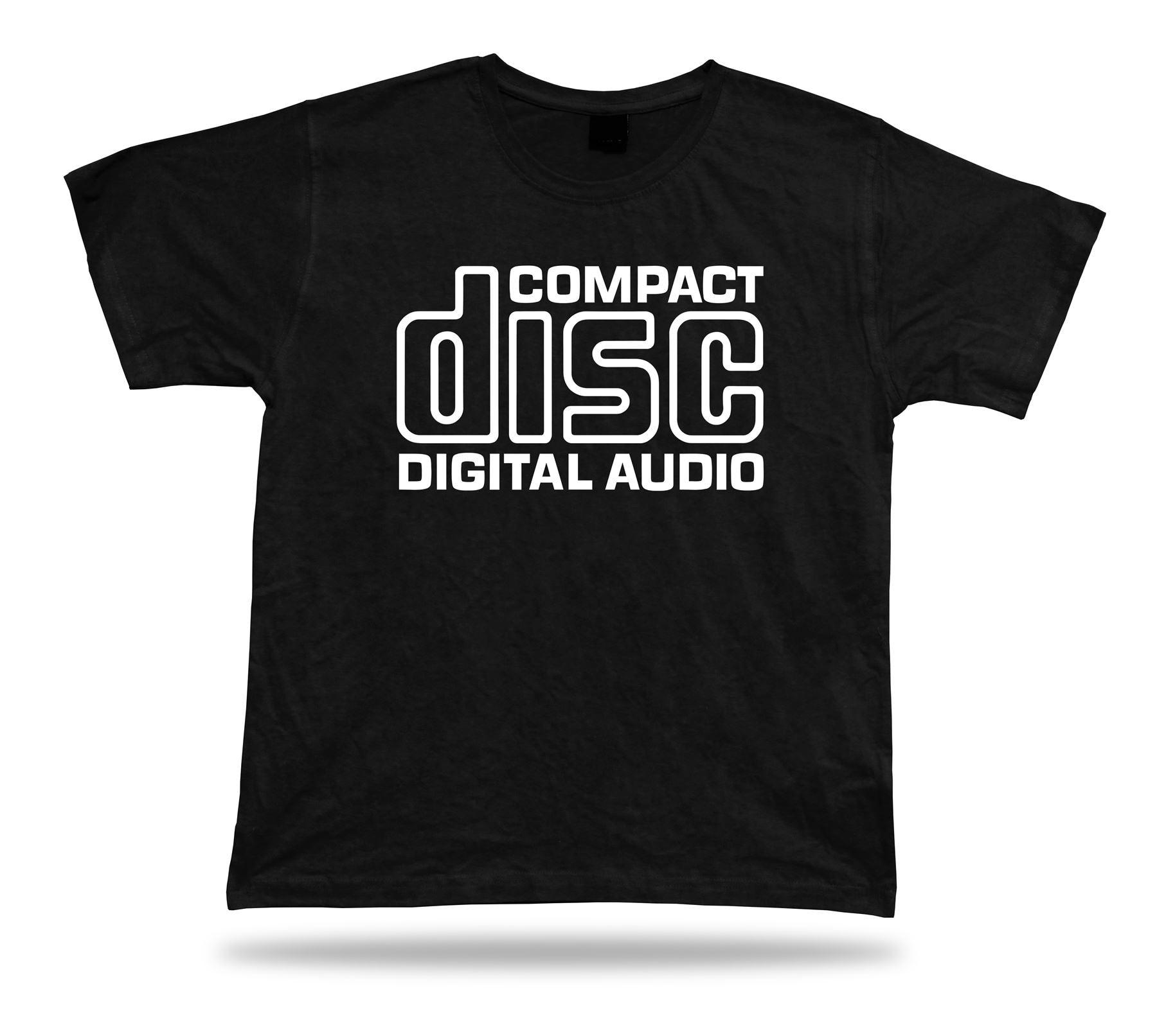 Цифровая футболка с компактным диском и аудиозаписью, Винтажная футболка в стиле ретро с басами и забавной музыкой, хлопковая футболка с ко...