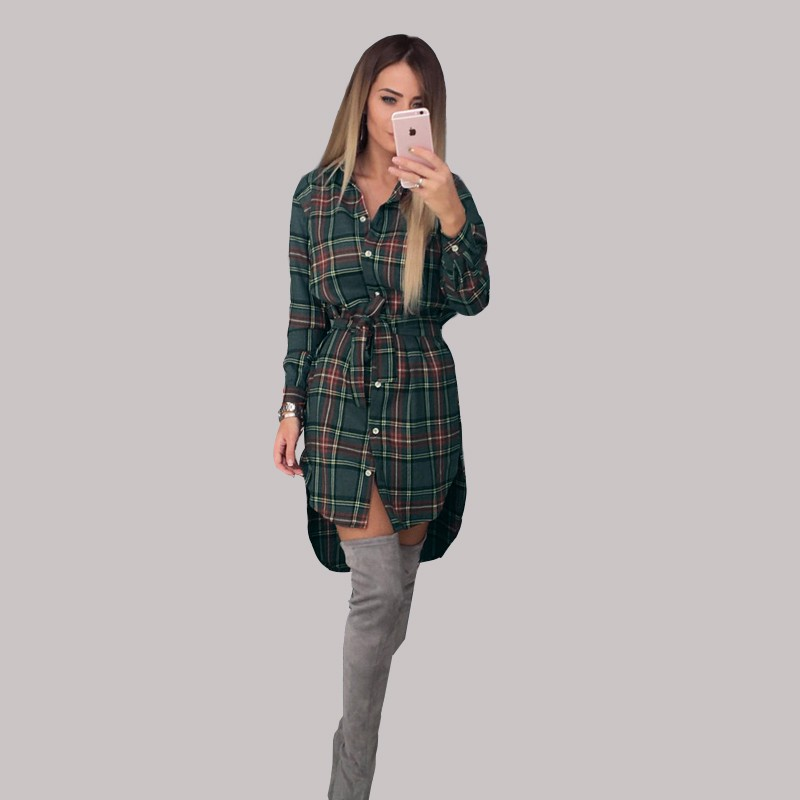2017 dress kobiety nieregularne plaid shirt sukienki sexy długim rękawem turn down collar urząd casual dress lj5932c 3