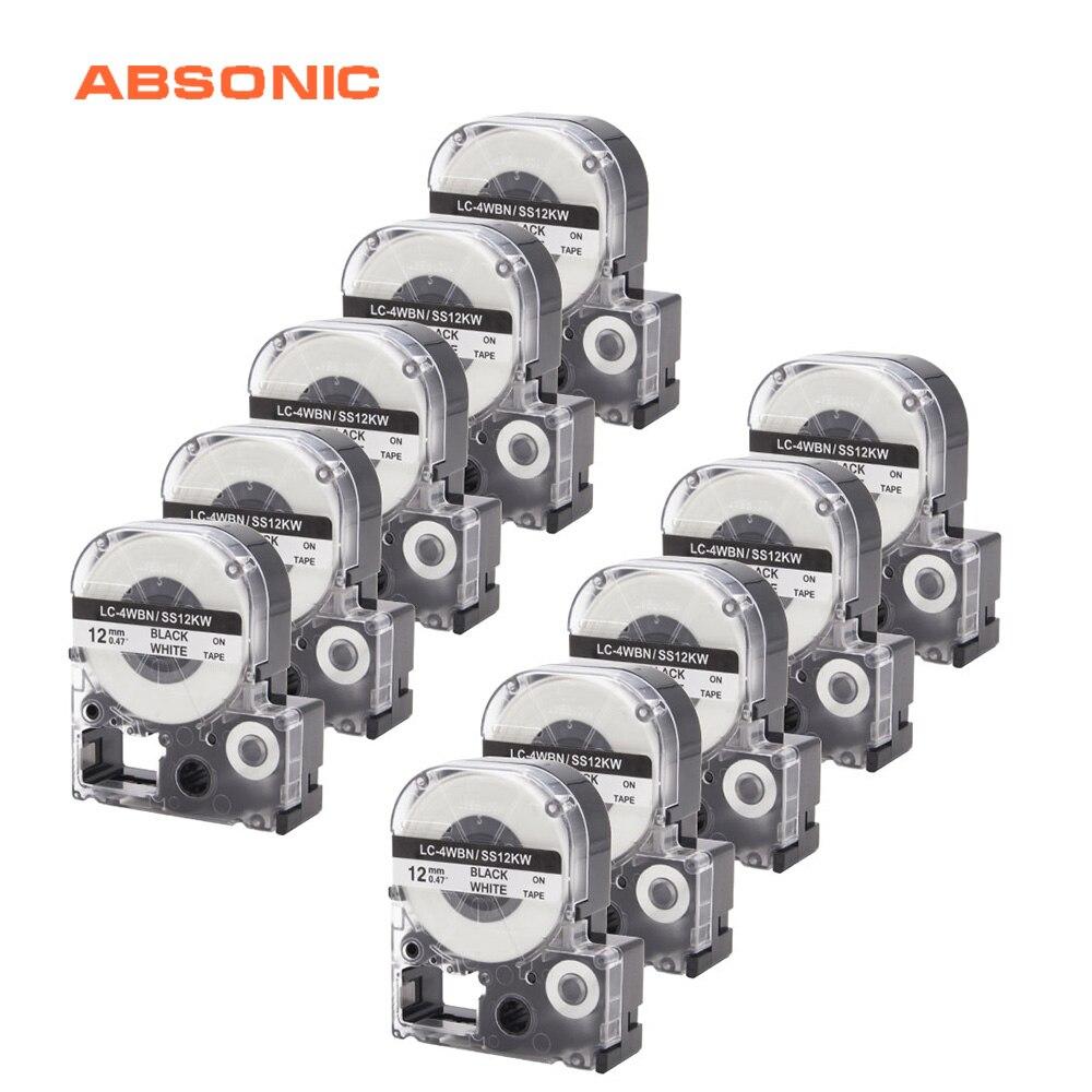 Absonic 10 قطعة 12 مللي متر * 8m SS12KW LC-4WBN9 LK-4WBN LC-4WBN الأسود على الأبيض الشريط لإبسون كج LW-300 LW-400 LW-500 LW-600P التسمية صانع