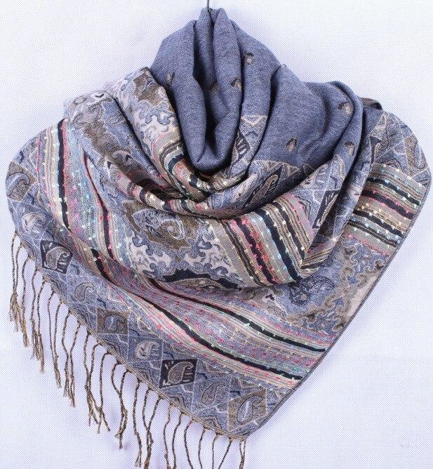 Bufanda tipo pashmina de seda para mujer color gris, envío gratis, venta al por mayor, Ff-xmf7