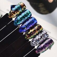 1pcs Laser Holo Irregular Chameleon Snowflakes Paillette Starry Glass Sequins Nail Art Glitter Powder Decor Manicure JISH01-06