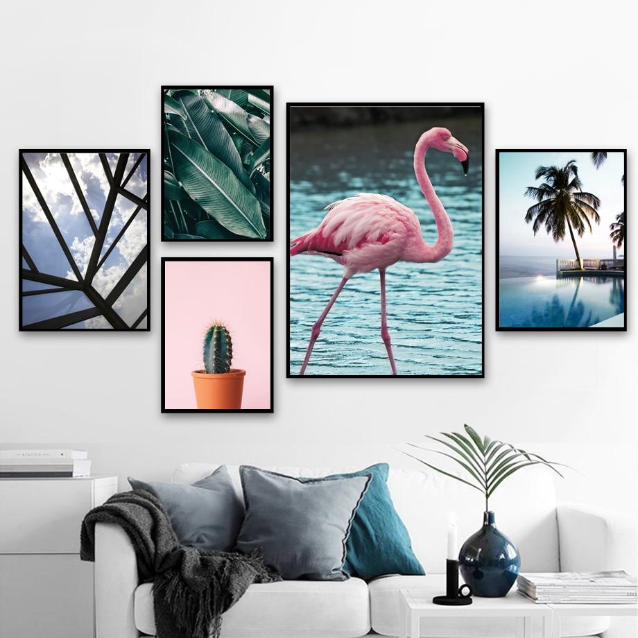 Cuadro sobre lienzo para pared de Gohipang, flamenco, Cactus, plátano, hojas, carteles nórdicos e impresiones, cuadros de pared para sala de estar, decoración del hogar