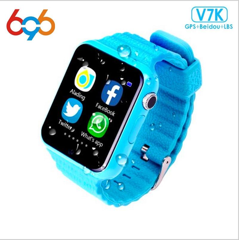 Reloj inteligente V7K rastreador GPS para niños 696 con cámara Facebook Niños SOS seguridad de emergencia Anti pérdida para reloj Android PK q50