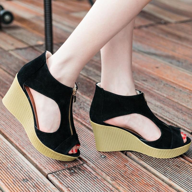 Fashion Women Wedge Sandals 7cm High Heel Summer Slippers Women Shoes Platform Wedges Vintage Sandals Zippers Sandalias Mujer