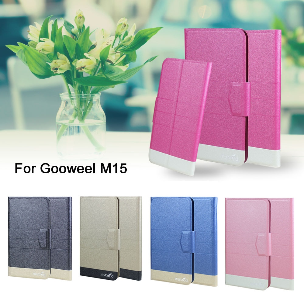 5 Colors Hot! Gooweel M15 Phone Case Leather Cover,Factory Direct Fashion Luxury Full Flip Stand Leather Phone Cases