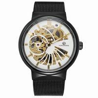Luxury Black Case Skeleton Neutral Design Mens Watches Top Brand Stainless Steel Waterproof Mechanical Hand Wind Wristwatch