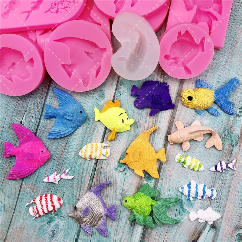 AliExpress - Cartoon Ocean Fish Fondant Shell Conch Cake Silicone Mold Candy Chocolate Mould DIY Baking Decoration Tool Animal Clay Resin Art