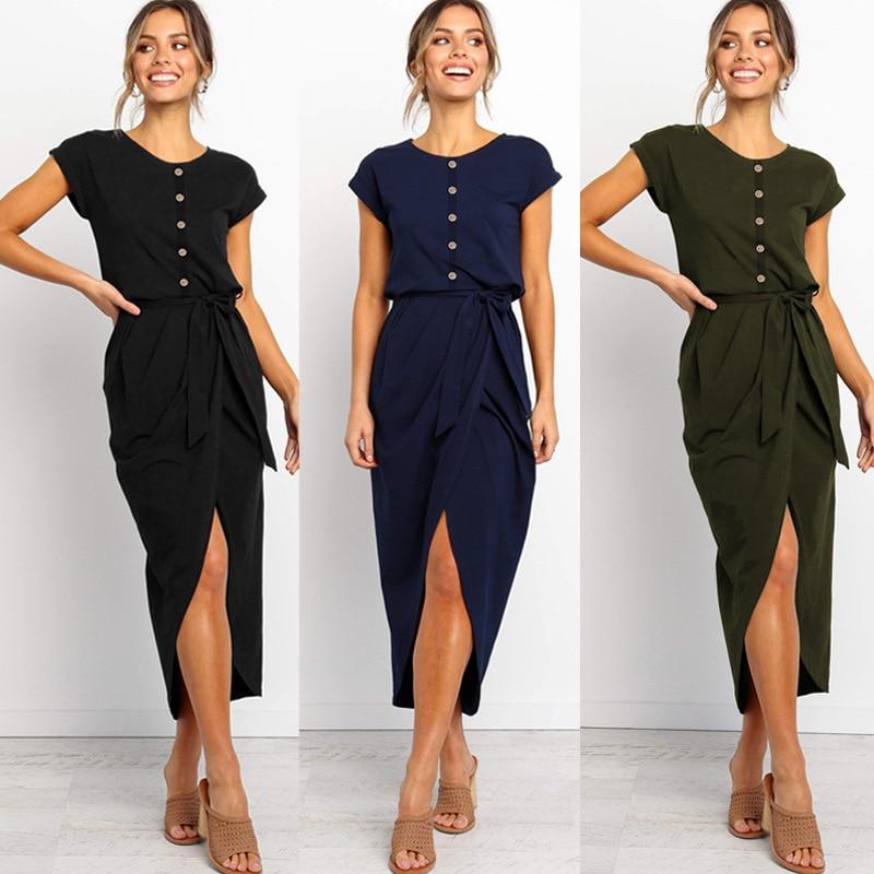2019 de las mujeres de la moda nuevo vestido de verano tendencia irregular vestido con botón de hendidura