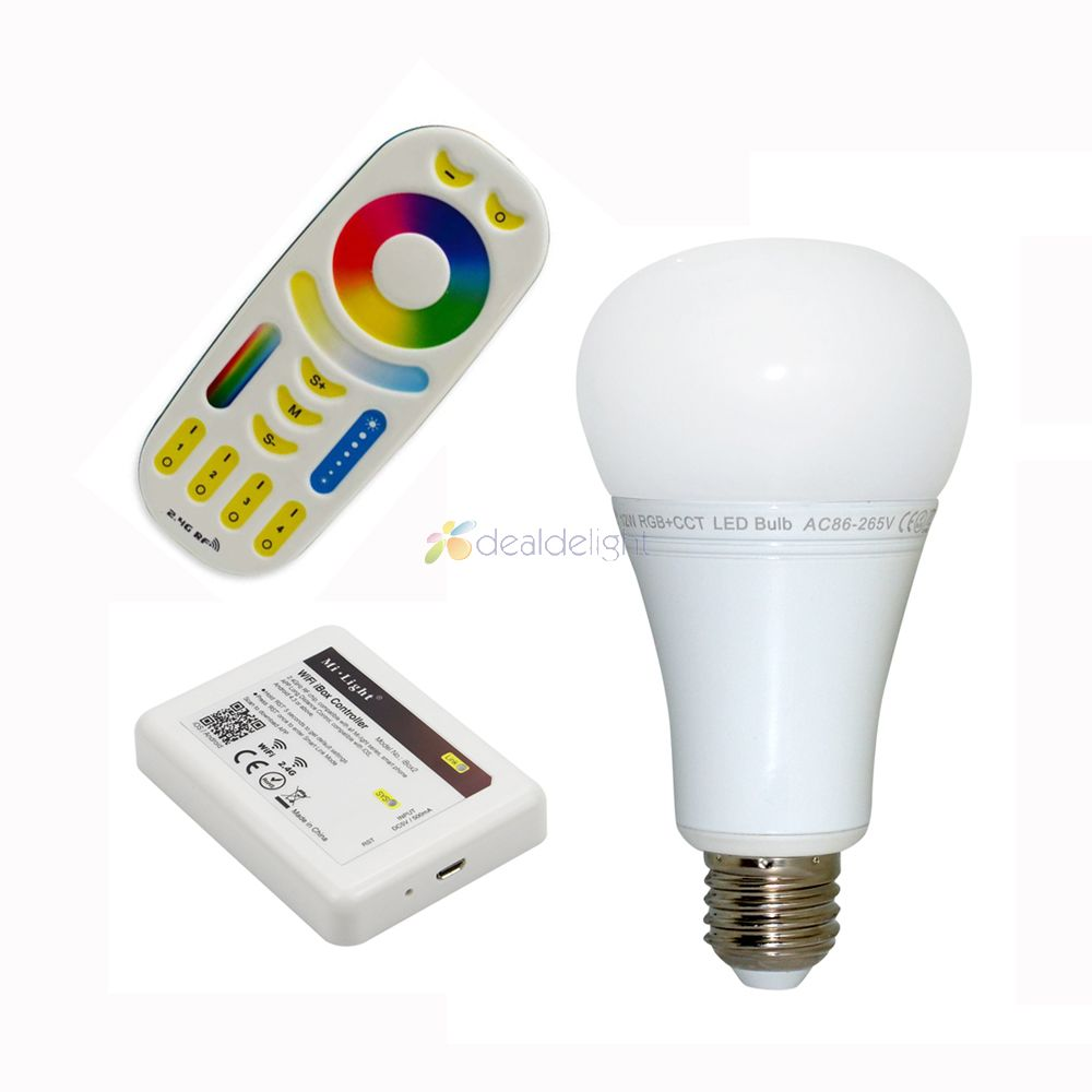Mi luz 12W RGB + AAC E27 LED bombilla LED Spotlight de entrada AC FUT105 + 1x WiFi iBox2 + 1x2,4G inalámbrico RF de 4-zona remoto
