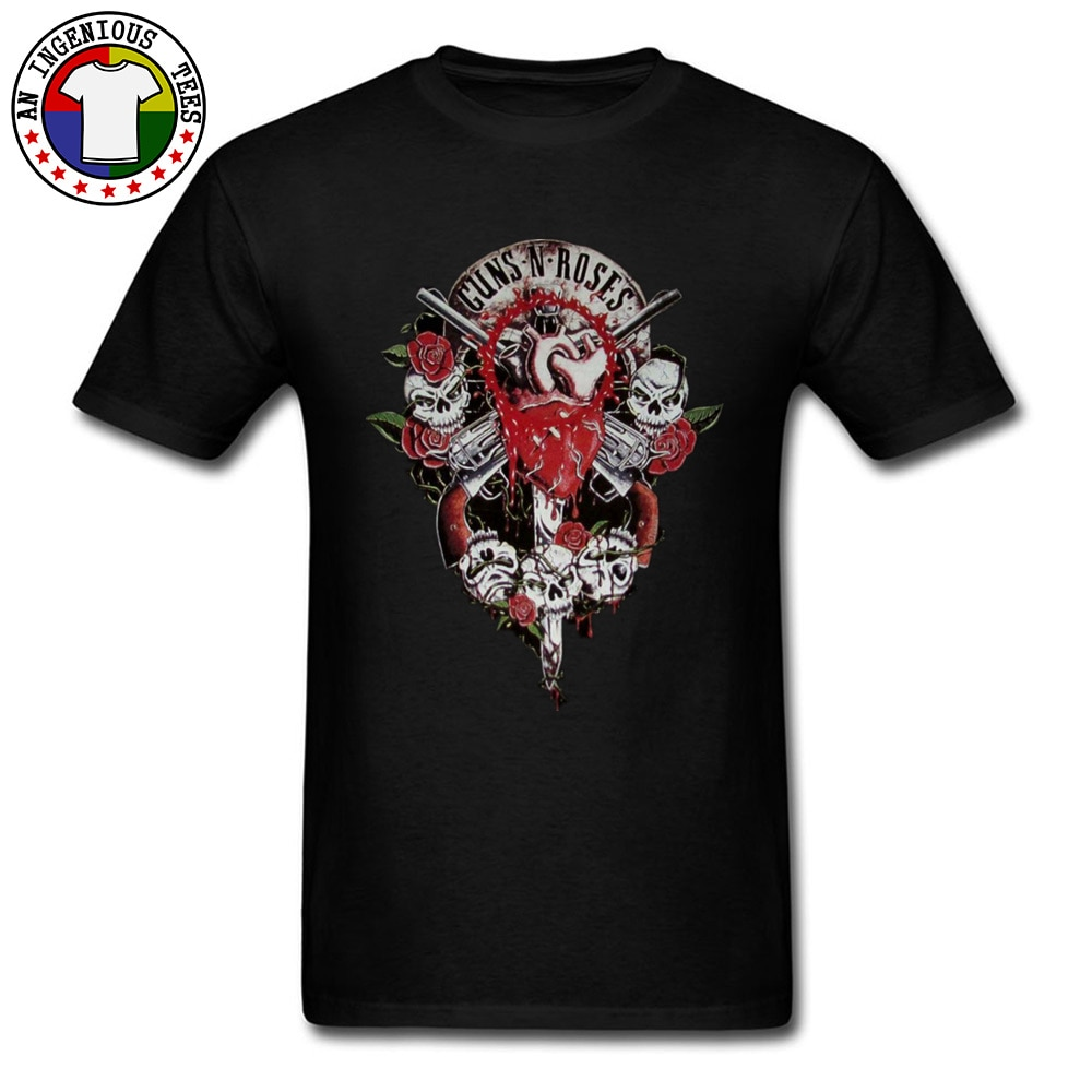 Custom Male Tops/Tees Guns N Rose Band Tshirts Skull 3D T Shirt Short Sleeve Summer Cool Crazy T-Shirt Male Clothing Shirt