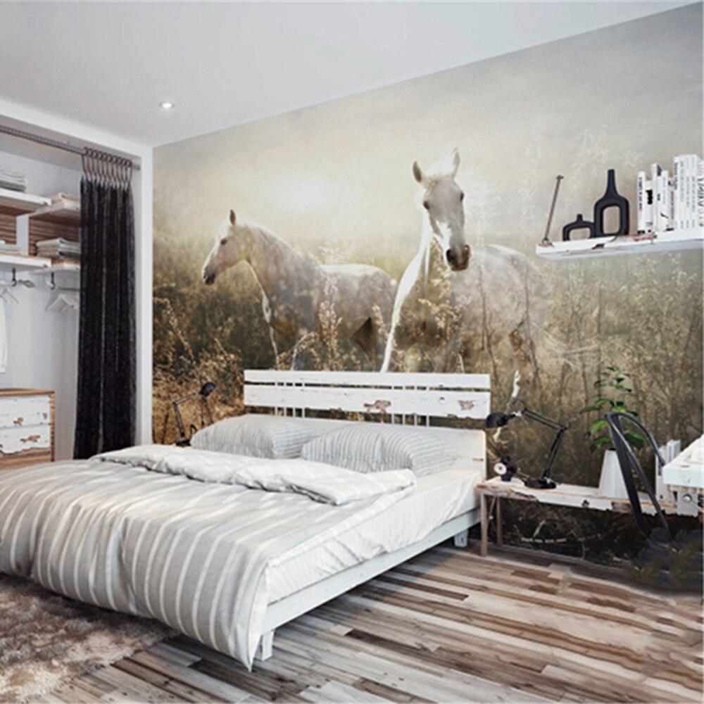 Das weiße pferd auf die grünland wohnzimmer hintergrund 3D Tapete Wandbild Photowall 3d papel de pared PW375357165