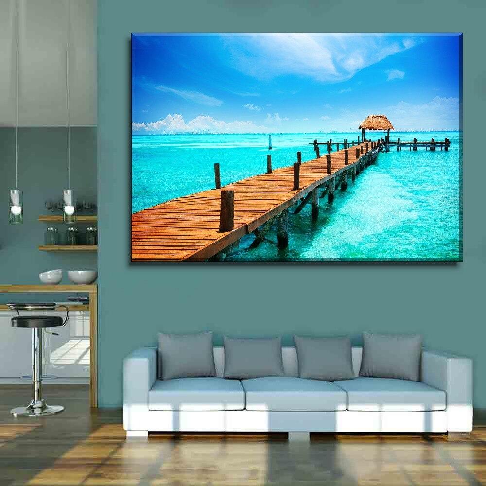Pared hogar lienzo decorativo HD impresión 1 pieza muelle océano madera soleado cielo azul pintura arte moderno para la vida habitación