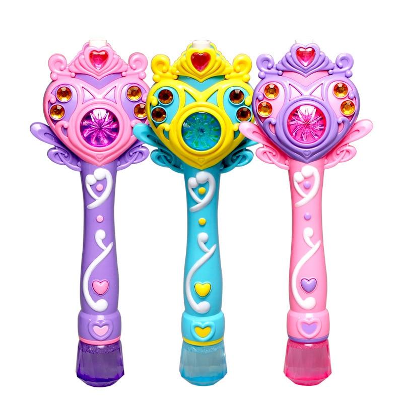 [Engraçado] princesa totalmente-automático máquina de bolha eletrônica varinha mágica música e luz bolha arma brinquedo crianças festa crianças presente