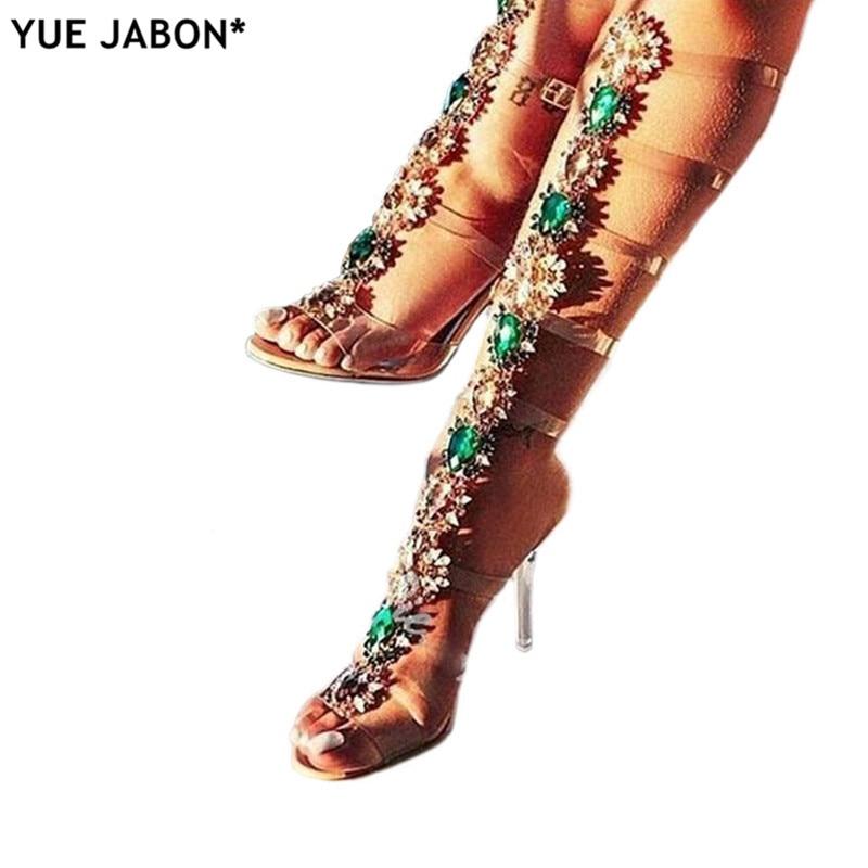 Woman Sandal Boots Rhinestone Lady Knee High Boots Thin High Heels Stiletto Crystal Dress Summer Shoes Sandalias Bohemia Style