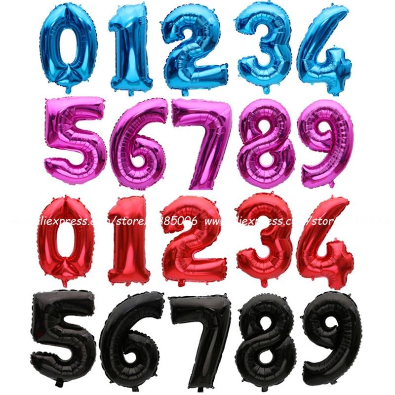 Globos de aluminio de Número Rojo, accesorios de decoración de feliz cumpleaños,...