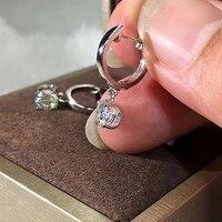0 5ct 5mm 18k white gold df color bull head moissanite hoop earrings for women wedding anniversary dangle earrings