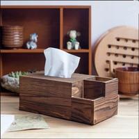 Wooden Tissue Box Storage Box Retro Classic Tissue Container Multi-function Three Block Home Decor Carbon Burning Color