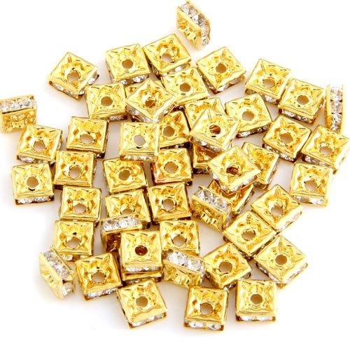 50 золотых квадратных горного хрусталя Roundel бисерные ювелирные изделия распорка Горячая