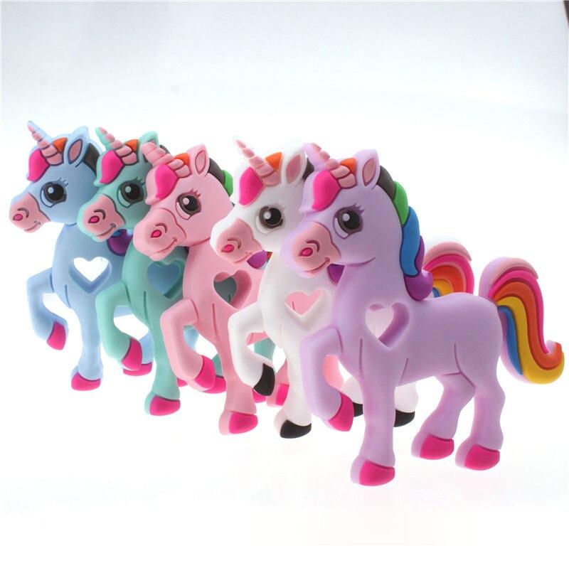 10 Uds bebé de silicona COLLAR COLGANTE unicornio mordedor dentición collar exento de BPA masticables bebé chupete Clip, regalo, regalo