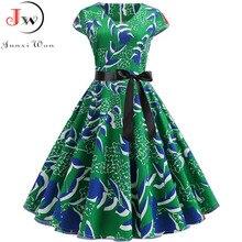 Femmes Vintage robe dété 50s 60s rétro élégant grande taille robes de soirée 2019 col en V Rockabilly Pinup décontracté robes florales