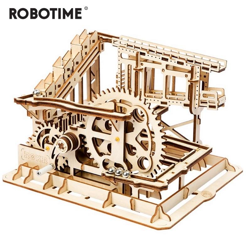 Robotime DIY Cog Coaster Magic Creative Marble Run juego de madera modelo Building Kits de montaje de juguete para regalo para niños adultos LG502