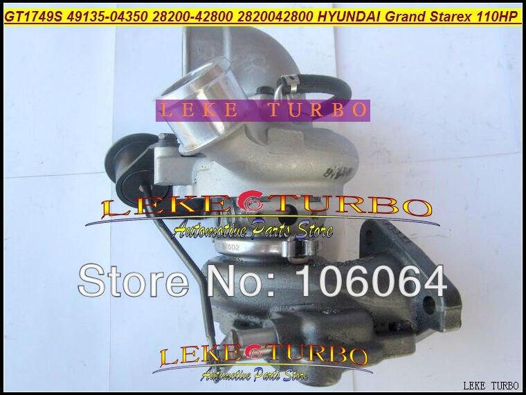Venta al por mayor GT1749S 49135-04350, 28200-42800, 28200, 42800, 49135, 04350 Turbo turbocompresor de la turbina para Hyundai Grand Starex 110HP 1.5L