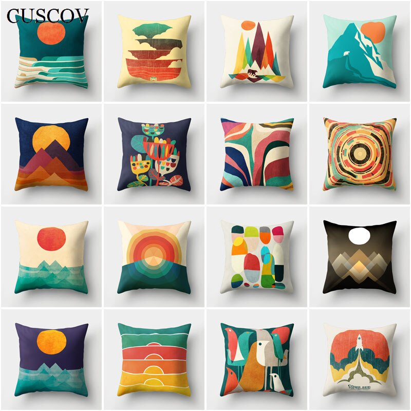 CUSCOV geometric sofa cushion cover wedding decoration abstract geometric sun picture pillow case home decoration pillow cover
