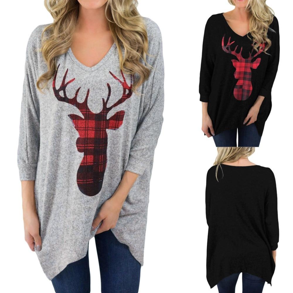 Camiseta de moda con estampado navideño de ciervo, camiseta a cuadros de Navidad para mujer, camiseta y suéter femenino de talla grande holgado de manga larga con cuello en V informal