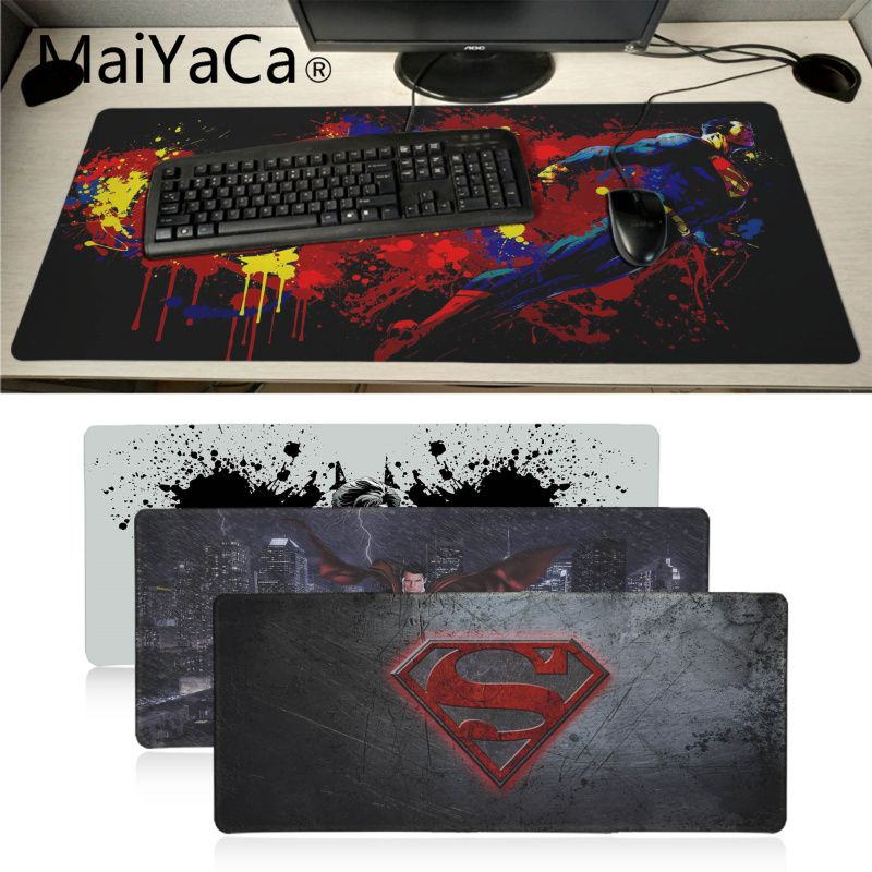 Maiyaca novos projetos marvel superman personalizado portátil gaming mouse pad bloqueio borda de borracha grande mousepads