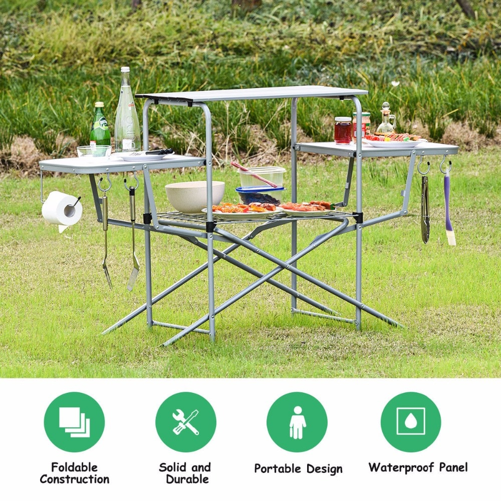 Goplus طوي طاولة تخييم في الهواء الطلق المطبخ المحمولة الشوي حامل للطي شواء الجدول أثاث خارجي OP70543