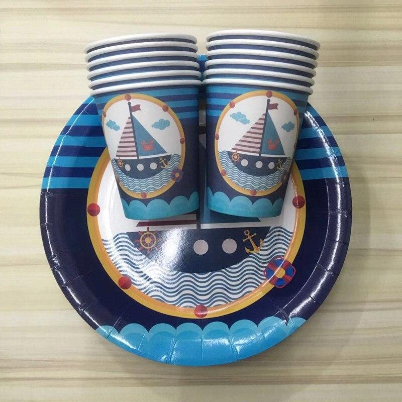 24 piezas/lote azul barco de vela navegador Tema 12 piezas de 7 pulgadas de placas de papel + 12 piezas tazas de papel juego de vajilla de fiesta para niños