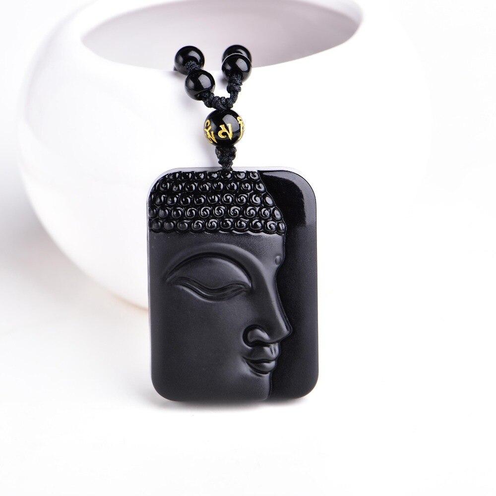 Alta qualidade único natural preto obsidian esculpido buda sorte amuleto pingente colar para pingentes dos homens das mulheres jóias finas