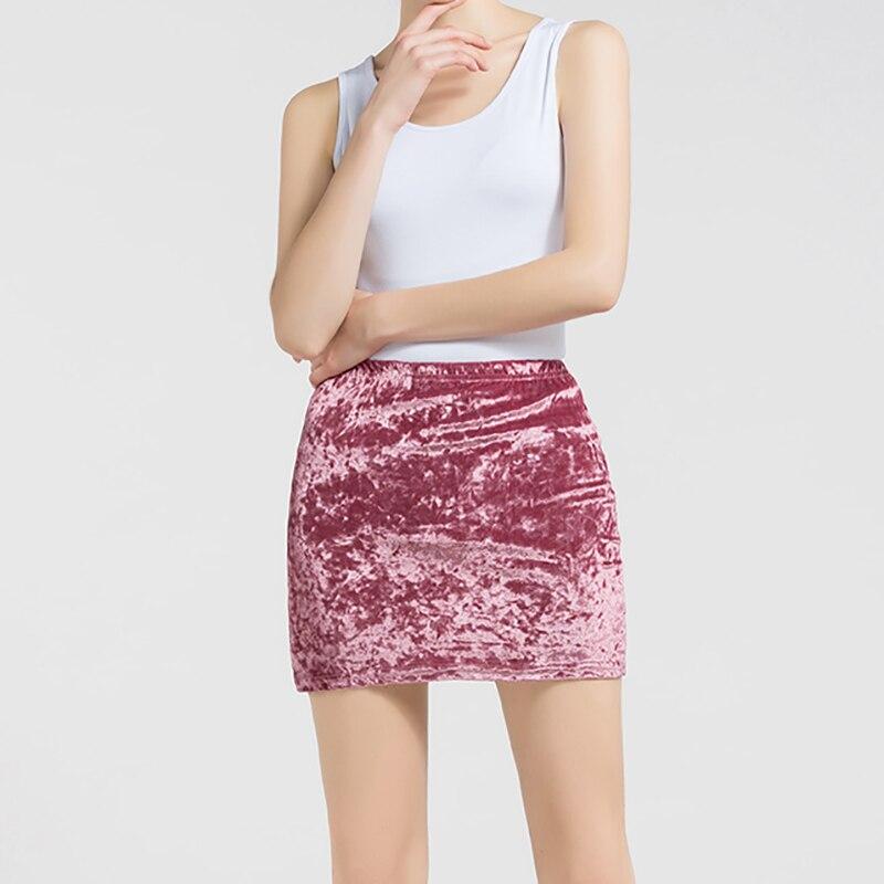 Rosa Mulheres Saia Primavera Outono Mini Saias De Veludo Feminino Harajuku Streetwear Casual Tecido Grosso Elástico Bodycon Lady Stretchy