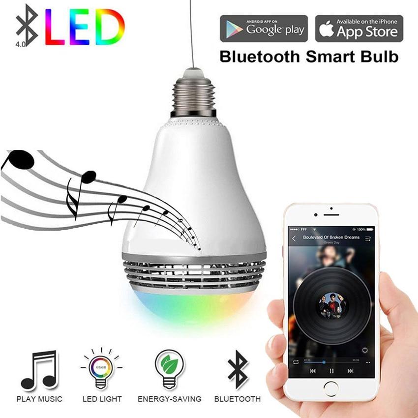E27 RGB WIFI inalámbrico inteligente Bluetooth 4,0 altavoz de Audio bombilla lámpara regulable colorido bombilla led de música a través de WiFi App Control