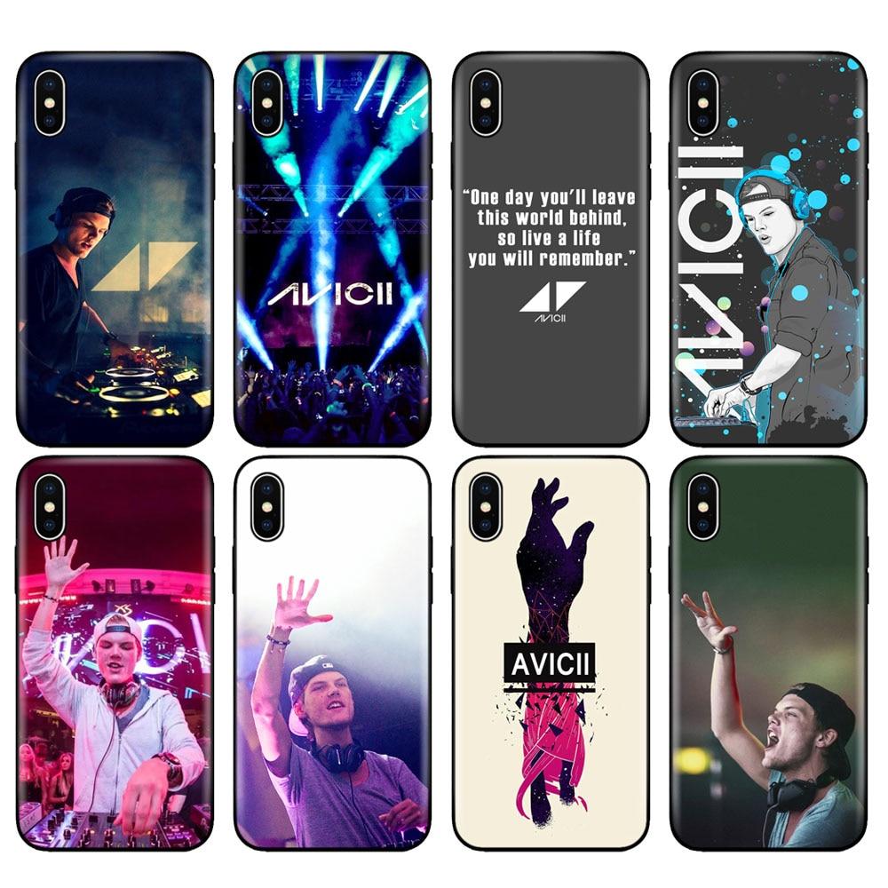 Negro tpu caso para iphone 5 5s SE 2020 6s 6 7 8 plus x 10 funda para iphone XR XS 11 pro MAX caso Avicii DJ Tim Bergling,