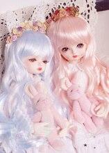 BJD perruques de poupée eau bleu eau rose Imitation mohair longues perruques de cheveux bouclés pour 1/3 1/4 1/6 BJD DD SD MSD YOSD perruques de poupée